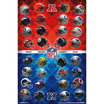 اتحاد كرة القدم الأميركي-الخوذ طباعة ملصق
