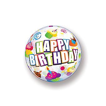 Ballon Bubble Kugel Happy Birthday Cupcake Geburtstag circa 55cm Ballon