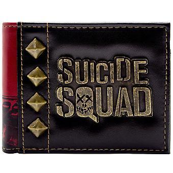 Cartera de doble suicidio Escuadrón Harley Quinn Gold insignia ID y tarjeta de