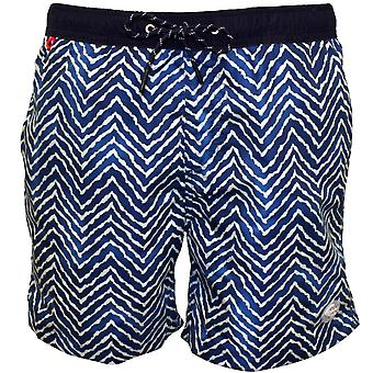 Scotch & Soda Two-tone Wavy Line Print Swim Shorts, Blue
