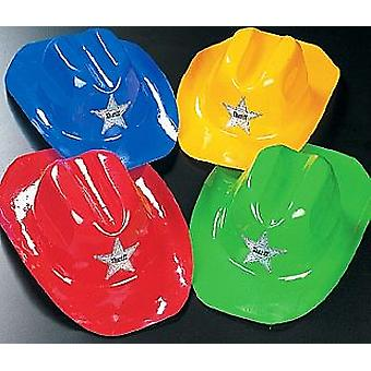 12 Bright Coloured Plastic Cowboy Sheriff Hats | Kids Birthday Party Hats