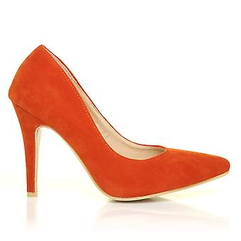 DARCY Orange gamuza Stilleto alto talón acentuado corte zapatos