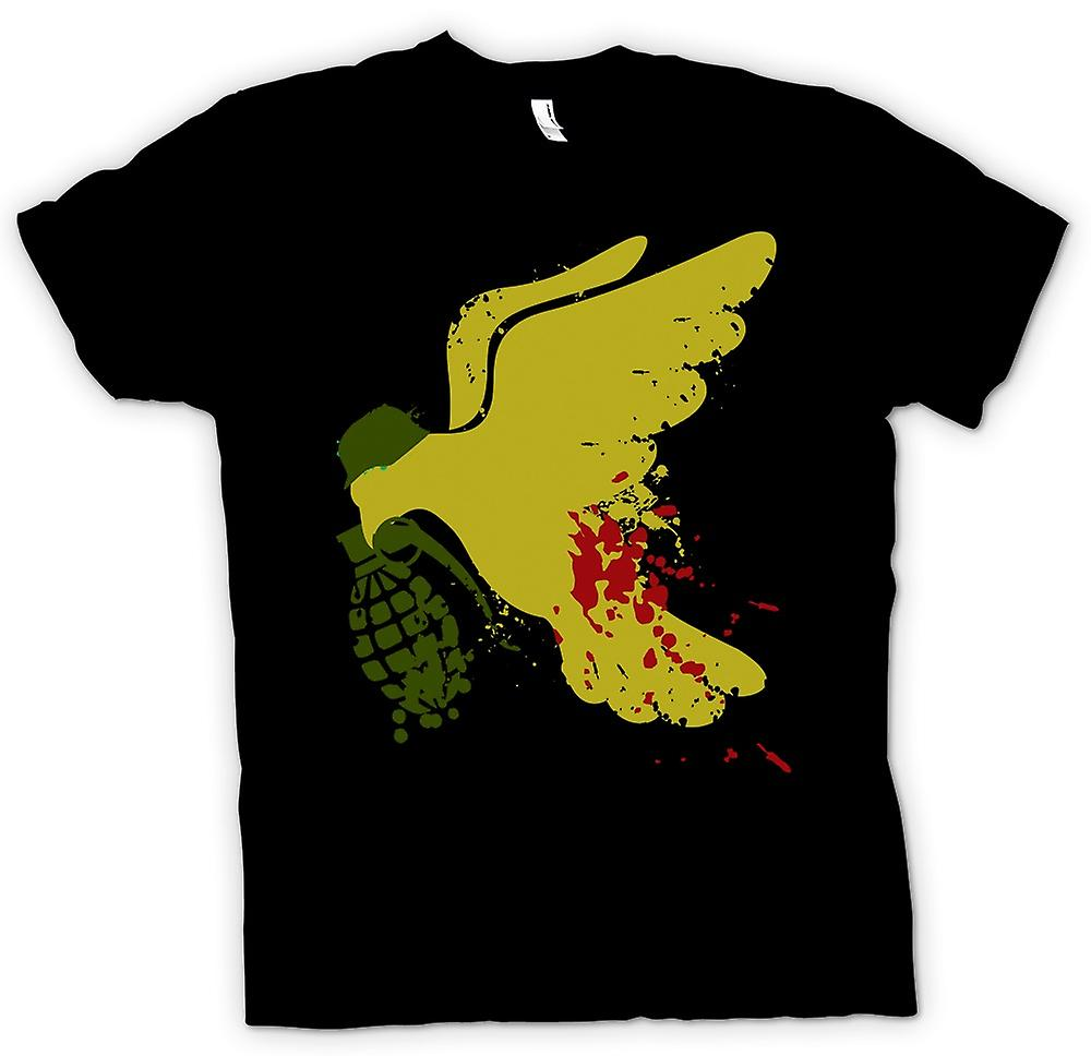Womens T-shirt - Peace Not War Dove Grenade - Funny