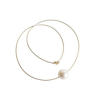Shell core Pearl Necklace noble white EDELWEISS gilt
