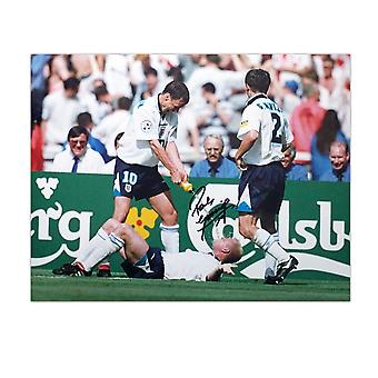 Paul Gascoigne Signed England Photograph: Dentist Chair Celebration