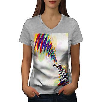 Trumpet Jazz Art Music Women GreyV-Neck T-shirt   Wellcoda