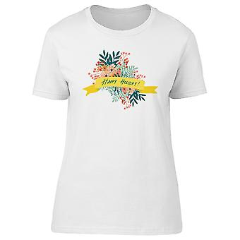 Happy Holiday Flower & Ribbon Tee Women's -Image by Shutterstock