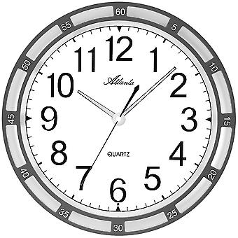 Atlanta 4458/4 wall clock quartz charcoal with lighting lighting quietly without ticking