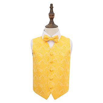 Paisley oro boda chaleco y pajarita conjunto para niños
