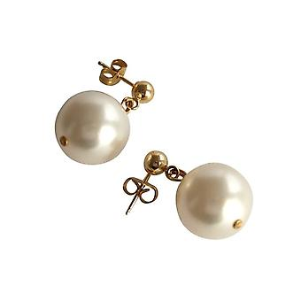 Gemshine - ladies - earrings - Pearl - noble white - gold plated 12 mm