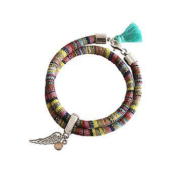 Gemshine - Damen - Armband - Wickelarmband - 925 Silber - Flügel - Engel - AZTEC - Rosenquarz - Rose