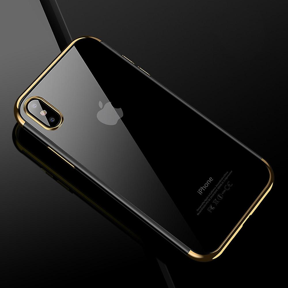 Cell phone cover case for Apple iPhone X transparent transparent gold