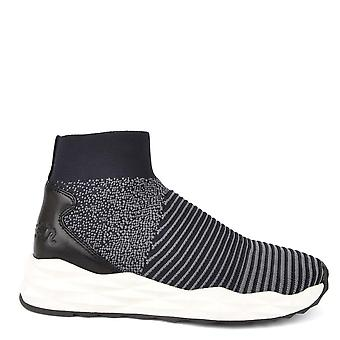 Ash Footwear Spot Knit Navy And Grey Trainer