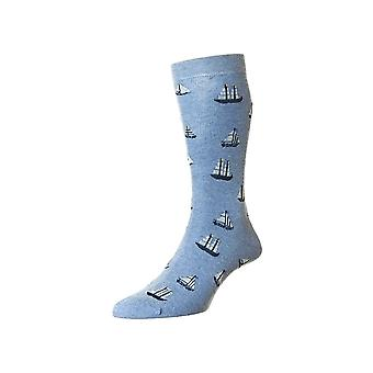 Seafarer men's combed cotton dress sock in denim | By Scott-Nichol
