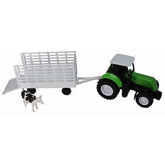 Tractor de granja verde con remolque de ganado acoplable