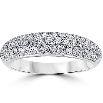 1ct Micropave Diamond Wedding Anniversary Womens Ladies Ring 18K White Gold