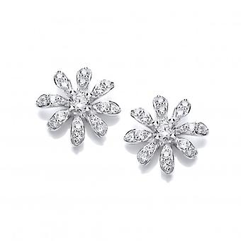 Cavendish French CZ and Sterling Silver Daisy Earrings