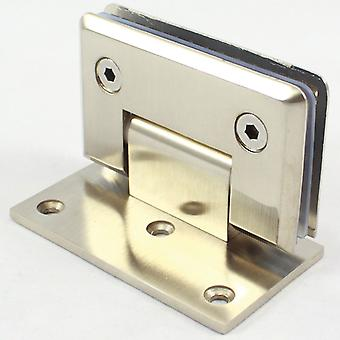 90 Degree Glass Door Hinge Bracket | Light Satin Nickel Finish | Zinc Alloy
