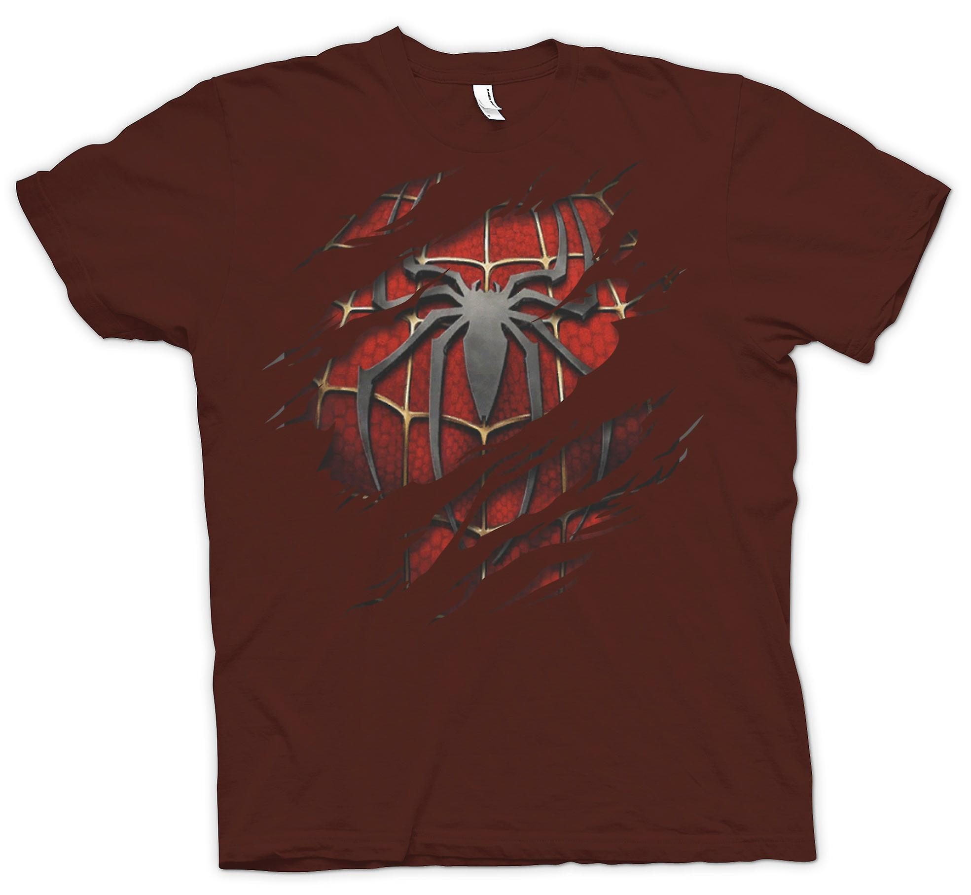Mens T-shirt - Spiderman Under Shirt Effect - Action Superhero
