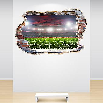 Full Colour American Football Stadium Smashed Wall 3D Effect Wall Sticker