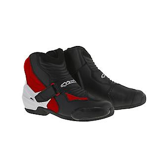 Alpinestars Black-White-Red SMX 1 R Motorcycle Boots