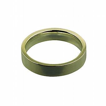 18ct Gold 4mm plain flat Court shaped Wedding Ring Size I