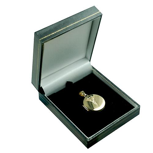 9ct Gold 23mm round flat Locket with a hand engraved medical alarm