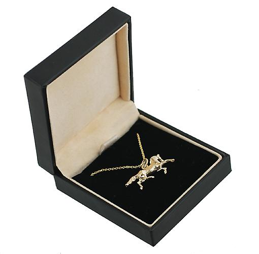 9ct Gold 13x26mm Running Horse Pendant with a cable Chain 16 inches Only Suitable for Children