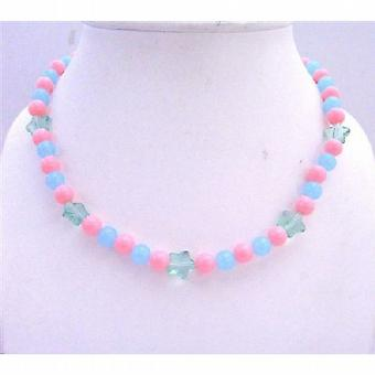 Round Beads Girls Stretchable Jewelry In Cool Pink & Blue Beads