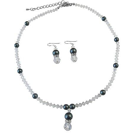 Exclusive Clear Crystals & Tahitian Swarovski Pearls Necklace Set