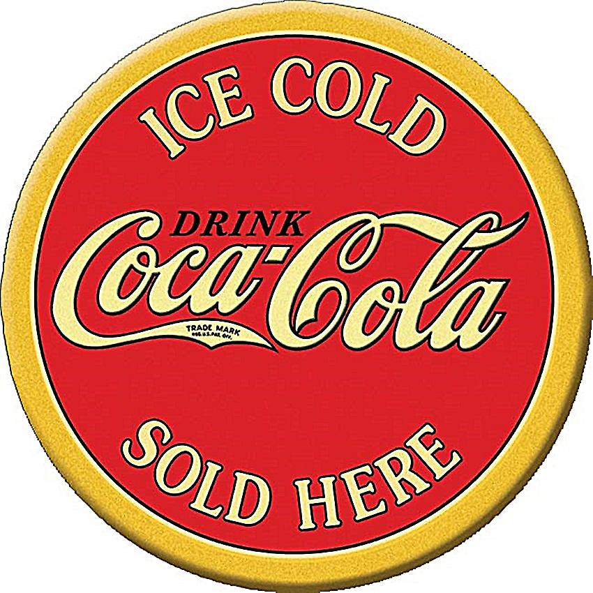 Coca Cola Ice Cold Sold Here round fridge magnet    (de)