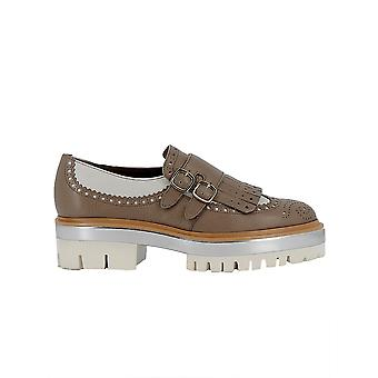 Santoni Beige/white Leather Monk Strap Shoes