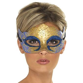 Womens Venetiaanse Colombina Farfalla Glitter masker, gouden Fancy Dress accessoire