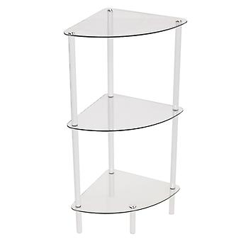 Corbin - 3 Tier Glass Corner Storage / Display Shelves - White