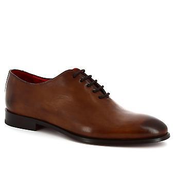 Leonardo Shoes Men's handmade lace-ups oxford wholecut in brandy calf leather