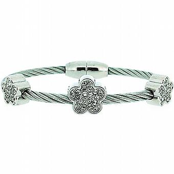 The Olivia Collection Flower Design Wire Style Bangle with Magnetic Closure