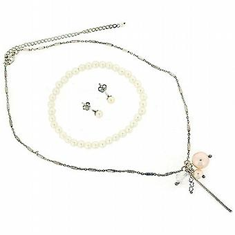 Cluster Simulated Pearl Drop Necklace Bracelet & Earring Set in Gift Box
