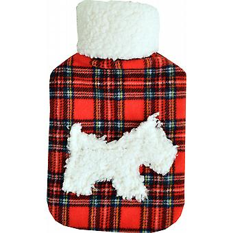 Fleece Applique 2L Hot Water Bottle: Red Tartan Scottie Dog