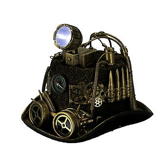 Steampunk Top Hat with LED Miner Light Compass and Goggles