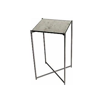 Gillmore Space Antiqued Glass Square Lamp Table With Gun Metal Cross Base
