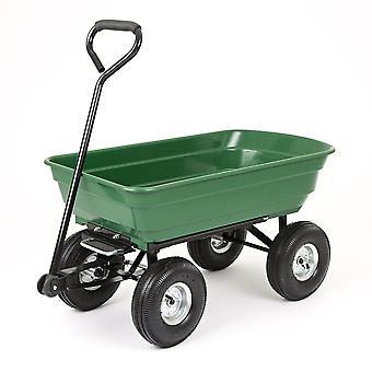 250kg 75L Garden Cart Heavy Duty 4 Wheel Trolley Wheelbarrow Chariot Camion Tipper