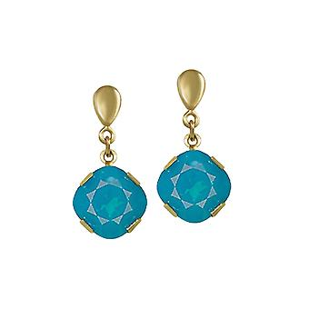 Eternal Collection Flair Caribbean Blue Austrian Crystal Gold Tone Drop Clip On Earrings