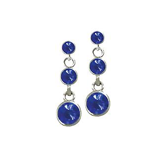 Eternal Collection Luminaire Sapphire Crystal Silver Tone Drop Pierced Earrings