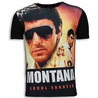 Tony Montana-Digital Rhinestone T-shirt-Black