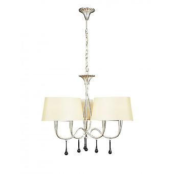 Mantra Paola Pendant 3 Arm 6 Light E14, Silver Painted With Cream Shades & Black Glass Droplets