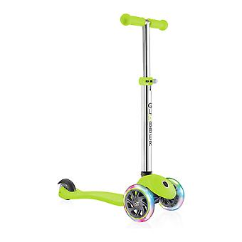 Globber Primo Lights Kids Scooter - Primo Scooter - 3 Wheel Scooter - Lime Green
