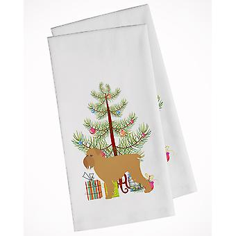Brussels Griffon Merry Christmas Tree White Kitchen Towel Set of 2