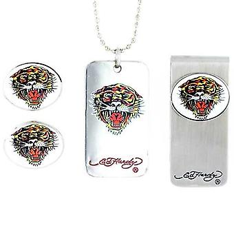 Set Ed Hardy banknote clip, cufflinks and necklace with pendant
