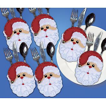 Santa Faces Silverware Pockets Felt Applique Kit 4