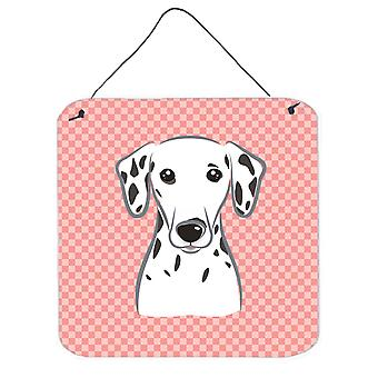 Checkerboard Pink Dalmatian Wall or Door Hanging Prints BB1210DS66